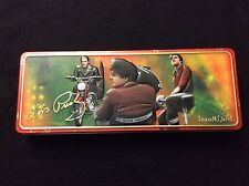 ELVIS PRESLEY COLLECTOR VINTAGE RUSSELL STOVER TIN ON MOTOR CYCLE EXCELLENT