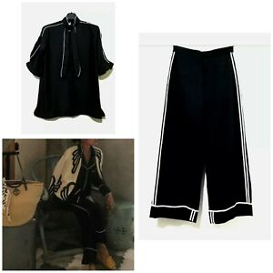 Korean Brand Black Button Front Bow Shirt With Contrast Trim
