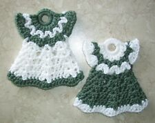 PAIR OF MINI DRESS POTHOLDERS, Crochet, SAGE AND WHITE, New, HANDCRAFTED