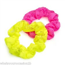 New Pack of 2 Neon Pink & Yellow Lace Hair Band Hair Elastic Scrunchie HA29434