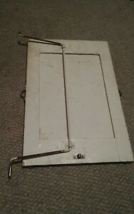 Vintage Beveled Cabinet? Mirror Metal Stand Wood Backed