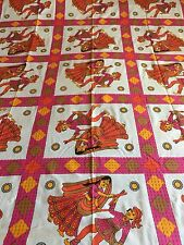 INDIAN 100% COTTON SINGLE SIZE,PINK STICK DANCERS PRINT BEDSPREAD
