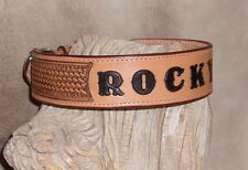 "Quality Custom Saddle Tan Leather Dog Collar Your Dogs Name 2"" + Basket W.  G&E"