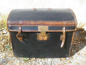 Ancien Grand Coffre Malle Voyage Voiture Bois Osier Cuir Laiton Vintage 1880