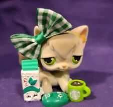 Authentic Littlest Pet Shop #20 Angora Kitty Cat Gray White Green Dot Eyes