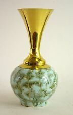 Delft Vase Holland Hand Painted Pottery and Brass