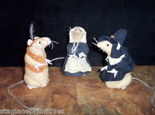 "Cute 5"" tall Thanksgiving Pilgrim & Indian Mice Mouse Sewing Pattern Holiday"