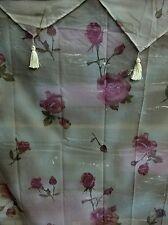 Rose Floral Shower Curtain w/ Vinyl liner and plastic hooks