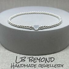STERLING SILVER 925 BEADED STRETCH STACKING BRACELET WITH HEART BEAD HANDMADE