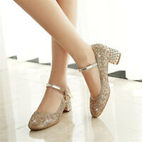 Fashion Women Rhinestone Ankle Strap Chunky Block Party High Heels Wedding Shoes