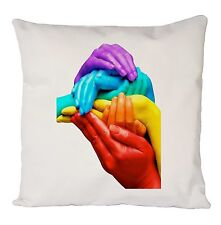Bandera Arco Iris Orgullo Gay manos Cojín Cubierta de Moda Fantástico Divertido Regalo Ideal