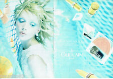PUBLICITE ADVERTISING 046  1998  Guerlain  maquillage coll Aquatique  ( 2 pages)