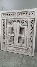 Antique Wooden Whitewash Prison Mirror Hand Carved detailing 90 x 80cm