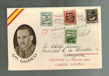 1937 Sevilla Spain Civil War Postcard Cover to Zaragoza General Manuel Goded