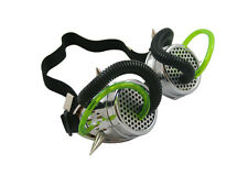 SILVER CYBER GOGGLES WITH SPIKES GREEN BLACK TUBING CYBERGOTH RAVE COSPLAY