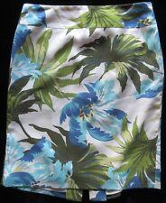 Ann Taylor LOFT Blue Green Floral Silk Blend Straight Skirt Size 6