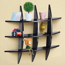 Cross Wood Wall Shelf 3 Tier Black Home Decor for Items Display