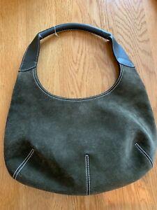 Women's Salvatore Ferragamo Dk Olive Suede Leather Trim 13'x8' Short Hobo Bag