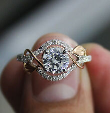 1.05 Ct. Natural Round Cut Pave Leaves Design Diamond Engagement Ring - GIA Cert
