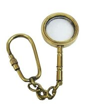 Collectible Nautical Solid Brass Magnifying Glass Key Chain. USA Seller!