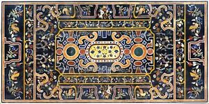 36 x 72 Inches Marble Patio Table Top Black Coffee Table with Marquetry Art