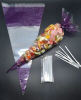 """250 - PURPLE Cone Cellophane Sweet / Party Bags With 4"""" Silver Twist Ties"""