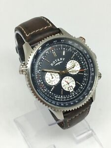 Rotary Mens GS03842/05 Chronograph Watch With Original Brown Leather Strap