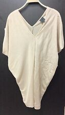 CK Calvin Klein Oversized Asymmetric Beige Silk & Cotton Draped Tunic Top