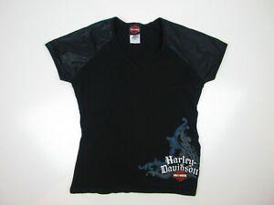 Vintage Harley Davidson Womens T Shirt Size M Sequin Printed Sleeves