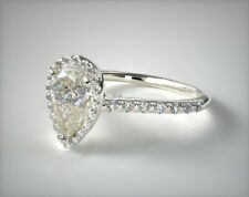 Pear Cut Halo Diamond Engagement Wedding Ring Womens 14k White Gold Over