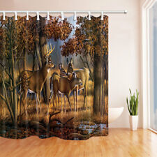 Animal Deers With Fall Woods Waterproof Fabric Bathroom Shower Curtain 71Inch