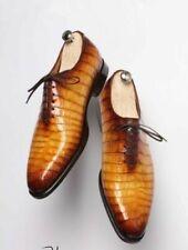 Handmade Men's Genuine Calf Leather Tan And Brownish Shade Crocodile Print Shoes