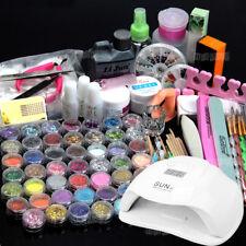 54W LED Nail Lamp + 48 Nail Art Set Acrylic Powder Liquid Glitter Tips DIY Tools