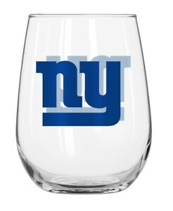 NEW YORK NY GIANTS 16 OZ CURVED BEVERAGE STEMLESS WINE GLASS FREE SHIPPING
