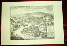 Baden im Aargau alte Städteansicht Merian Druck Stich
