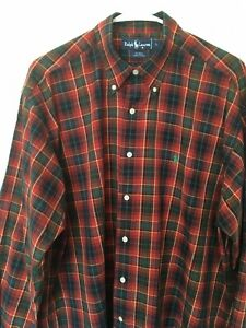 Ralph Lauren Blaire shirt Mens Sz L Red Green Plaid  Button down Long sleeve