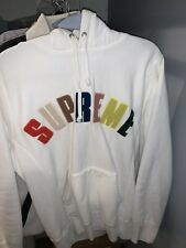 Supreme Chenille Arc Logo Hoodie White FW17 Size S