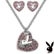 Playboy Jewelry Set Necklace Earrings Silver Swarovski Crystals Pink Bunny Heart