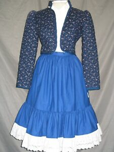 Western Dress Victorian Costume Prairie Style Old West 1800s Blue Outfit