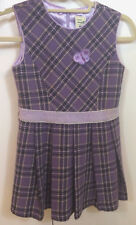 Item 329 Girl's Ebobe Lined Plaid Dress - Purple.  Size 130  6T