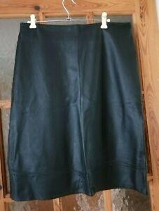 "PARAGON Black Genuine Leather Skirt Size:14 Waist:32"""