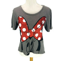 Disney Parks Women's T Shirt Minnie Mouse Glitter Bow Polka Dot Gray Size Small