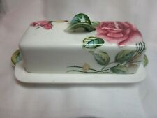 Lefton Americana Rose covered butter dish