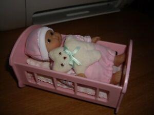 "5"" soft body vinyl Baby  doll in rocking crib with Teddy"