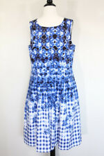 Talbots Gingham Dress Floral womens Fit Flare Pockets sz 12 Blue White Retro