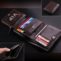 USA Men's Trifold Wallet Leather Business ID Credit Card Holder Coin Purse Gifts