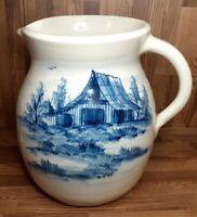 "P. R. Storie Pottery Co Marshall, TX 9 3/4"" Pitcher Blue Barn Scene"