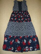 GIRLS RED, BLUE & WHITE MAXI DRESS IN VERY GOOD CONDITION SIZE 11-12 YEARS