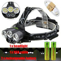 350000LM 5X XML T6 LED Headlamp Rechargeable Head Light Flashlight Torch Lamp US