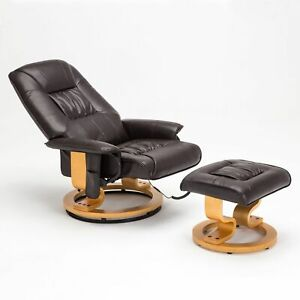 Bonded Leather Leisure Massage Chair Recliner Swivel Armchair w/Ottoman in Brown